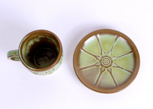 Frankoma Prairie Green Glazed Wagon Wheel Cups & Saucers