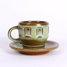 Load image into Gallery viewer, Frankoma Prairie Green Glazed Wagon Wheel Cups & Saucers