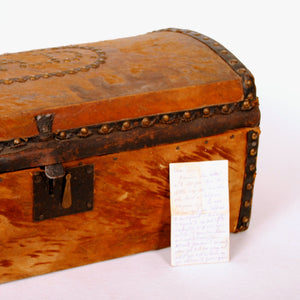 "Antique Document Box Studded with Initials ""E.A.D."" HD195"