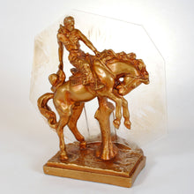 Load image into Gallery viewer, Western Chalkware Lamp ca. 1930s Cowboy on Bucking Bronc