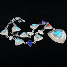 Load image into Gallery viewer, Native American Indian Silver and Turquoise Necklace JHW105
