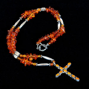 Amber & Silver Cross Necklace