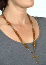 Load image into Gallery viewer, Amber & Silver Cross Necklace