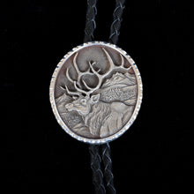 Load image into Gallery viewer, Silver Engraved Elk Bolo Tie