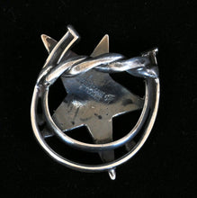 Load image into Gallery viewer, Sterling Silver Scarf Slide Star & Horseshoe JOA244