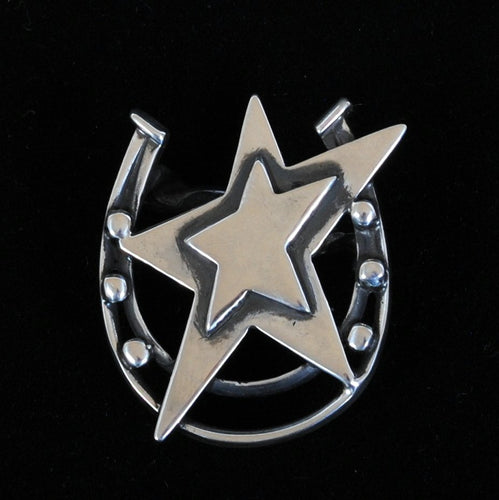 Sterling Silver Scarf Slide Star & Horseshoe JOA244