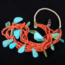 Load image into Gallery viewer, Native American Indian Coral & Turquoise Necklace JPN101