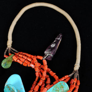 Native American Indian Coral & Turquoise Necklace JPN101