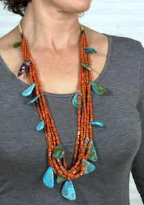 Native American Indian Coral & Turquoise Necklace