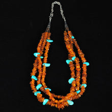Load image into Gallery viewer, Amber & Turquoise Beaded Necklace JPN106