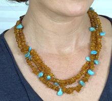 Load image into Gallery viewer, Amber & Turquoise Beaded Necklace