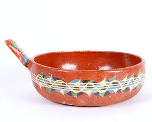 Vintage Mexican Redware Pottery Serving Pot