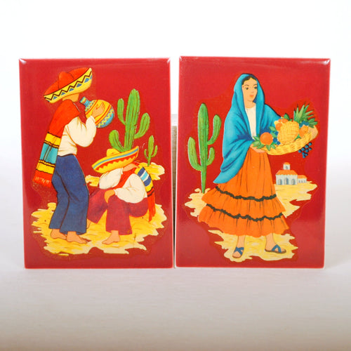 Vintage Tiles with Mexican Decals