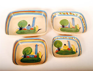 Vintage Mexican Stacking Set Redware Pottery 4pcs