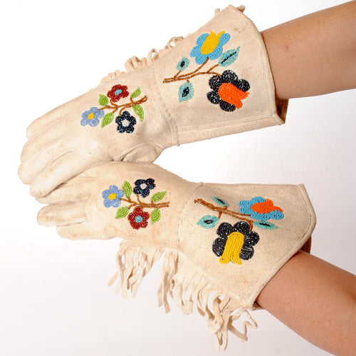 Vintage Leather Gauntlets with Native American Beading N127