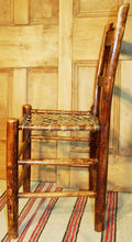 Load image into Gallery viewer, Vintage Rustic Side Chair with Woven Rawhide Seat R107