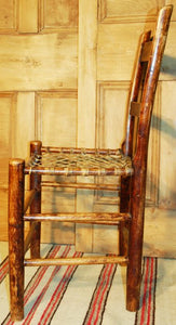 Vintage Rustic Side Chair with Woven Rawhide Seat R107