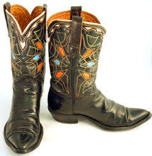 Load image into Gallery viewer, Vintage Mens Black Cowboy Boots sz 8
