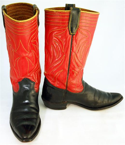 Vintage Texas Boot Co Mens Cowboy Boots Red/Black sz 8-1/2B