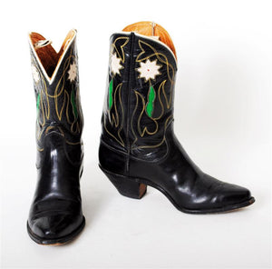 Womens Justin Cowboy Boots Vintage Black