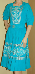 Vintage Fiesta Dress by Thunderbird Fashions in Turquoise and Silver VC122
