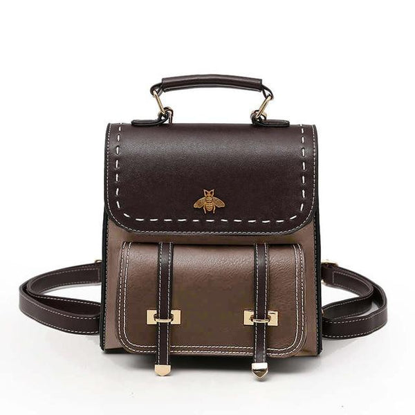 Vintage Leather Women Preppy Style Backpack