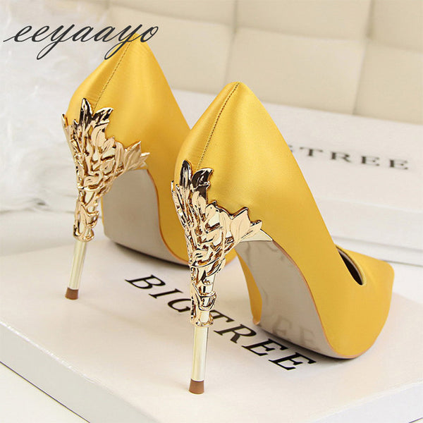 Women Pumps High Heel Metal Pointed