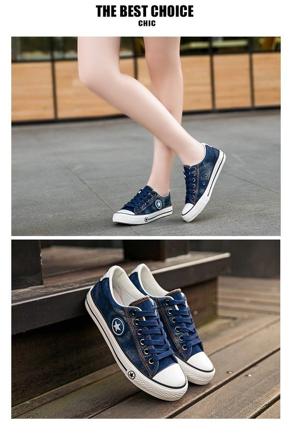 Casual Denim Lace Up Canvas Sneakers