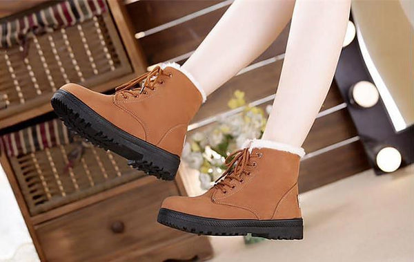 Lace up Winter Fur plush Insole Snow Boots