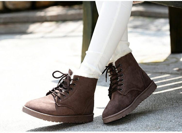 Faux Suede Warm Snow Winter Ankle Boots