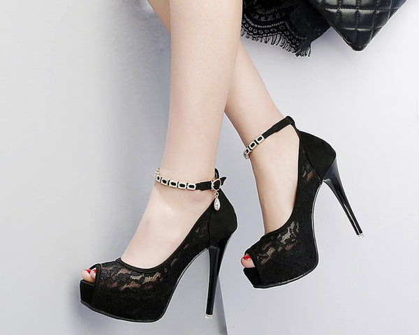 Lace Wedding Shoes Woman Peep