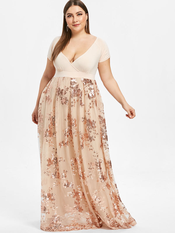 Elegant Floral Maxi Sparkly Party Dress