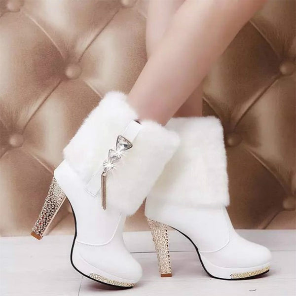 Leather High Heels Snow Ankle Boots