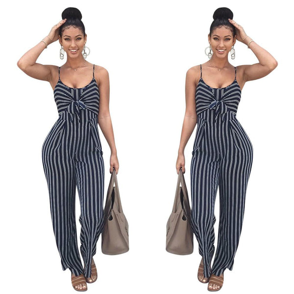 Striped Bow Clubwear Playsuit Romper Jumpsuit