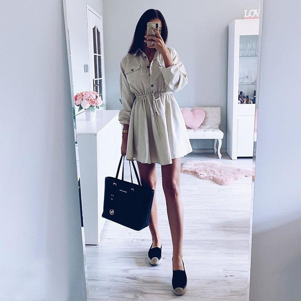 women mini shirt dress