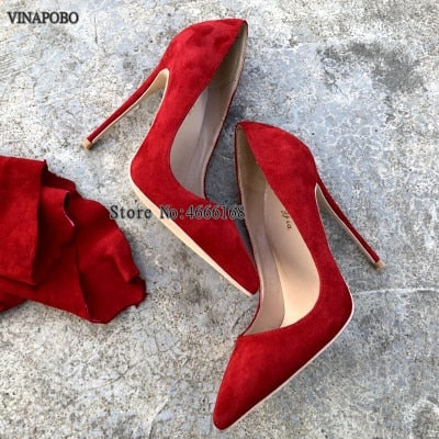 New Brand Red Leather Women Pumps