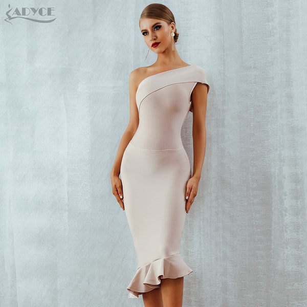 One Shoulder Sleeveless Ruffles Nightclub Dress