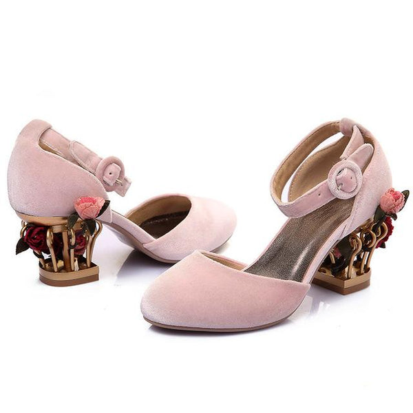 Cute flower heel wedding shoes