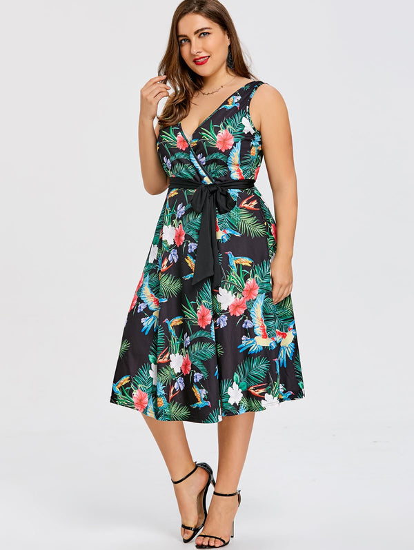 A-Line Plus Size Midi Dress