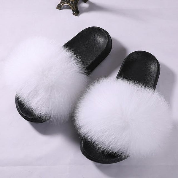 Comfort Fluffy Fox Fur Slippers