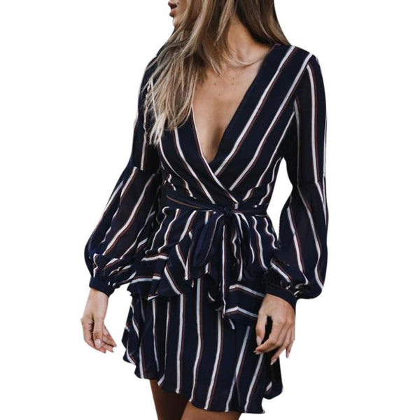 Casual Striped Ruffle Mini Dress