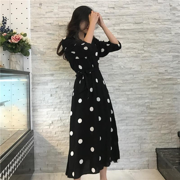 Casual Half Sleeve Dot Dress