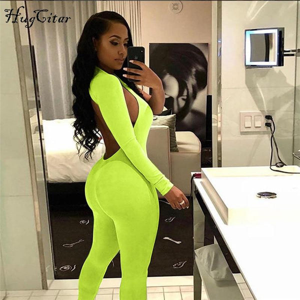 High Waist backless sexy stretchy jumpsuit