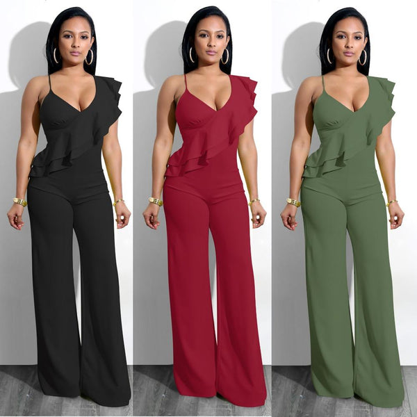 Casual Ruffles Rompers Strap Jumpsuits