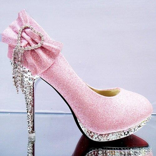 Crystal Thin High heels with round toe pumps