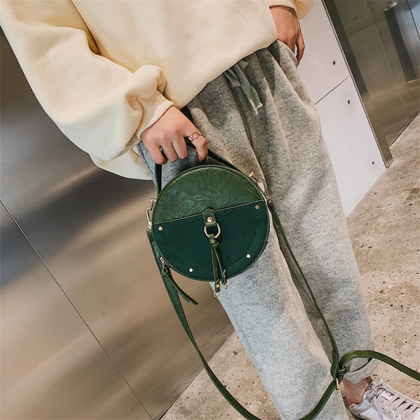 Vintage Leather Round Crossbody Bag
