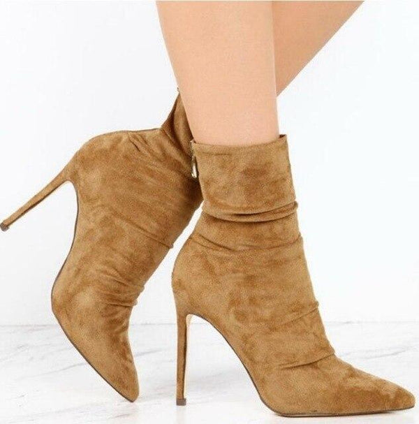 Pointed Toe High Heel Sock ankle Boots