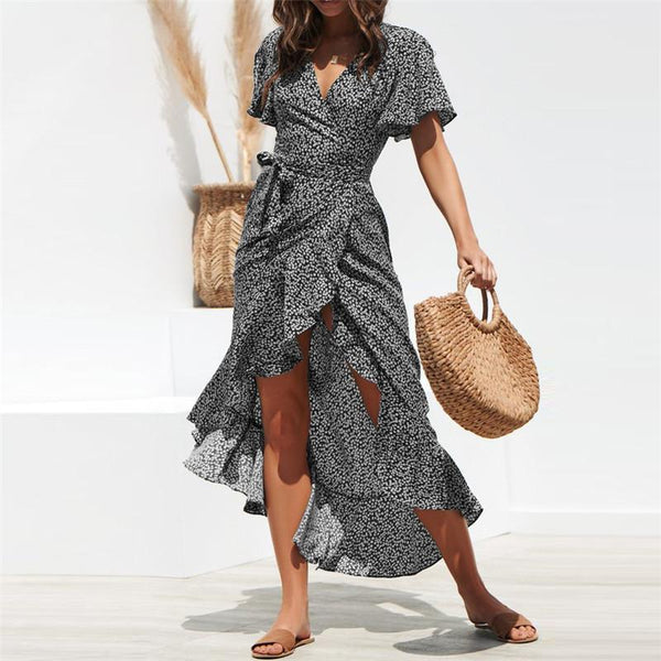 Floral Print Boho Ruffles Wrap Maxi Dress
