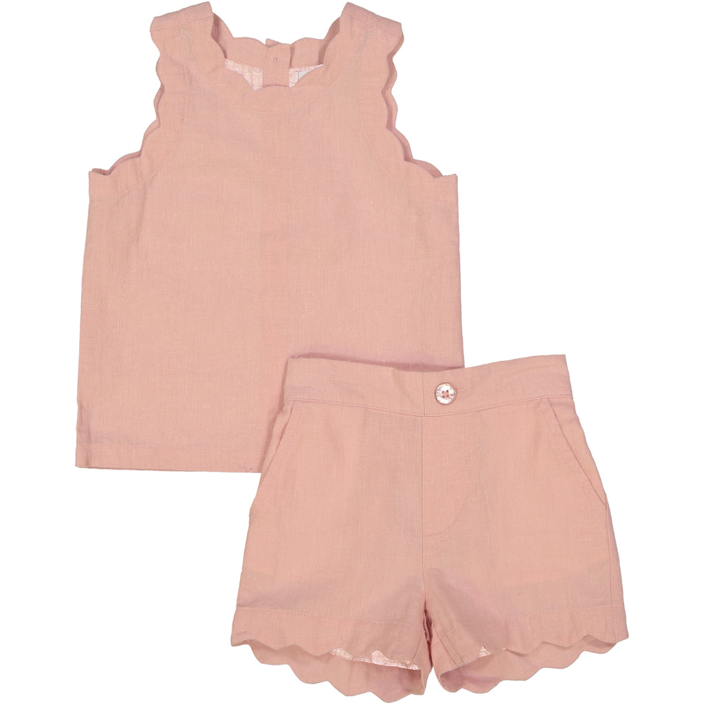 Coco Blanc Smoky Rose Linen Set