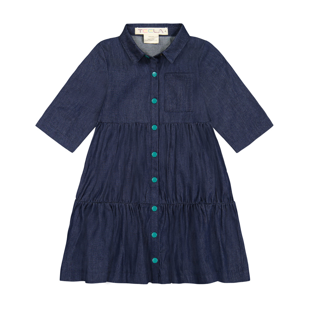 Teela Dark Denim Two Tier Dress